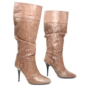 Burberry Tan Perforated Leather Knee High Boots